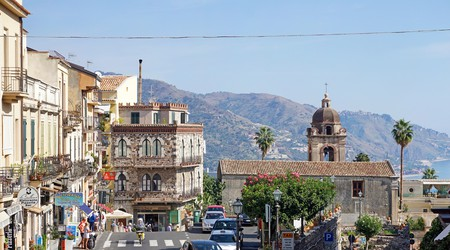 View from Porta Messina to the old town of Taormina, Sicily
