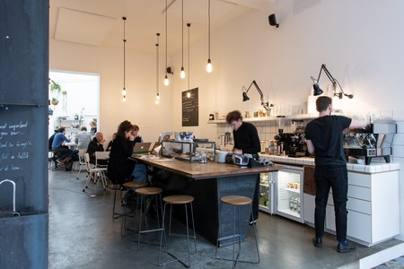 Having some coffee at MOK is one of the highlights of a busy day in the Dansaert area of Brussels