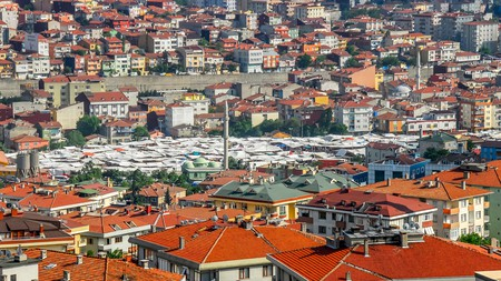 A view over rooftops to the tented canopies of Kadikoy market, Istanbul