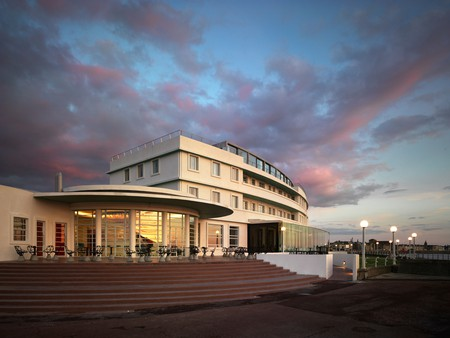 The Midland Hotel in Morecambe, built by the London, Midland and Scottish Railway's hotel chain, curves towards the sea