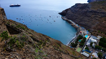 View down to Jamestown, the main town of remote Saint Helena Island, from the top of Jacob's ladder
