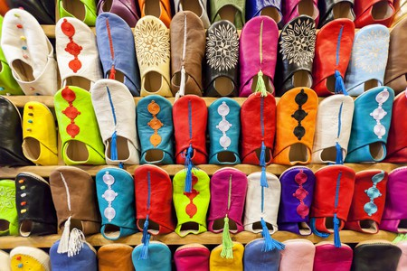 Colorful moroccan babouch shoe slippers.