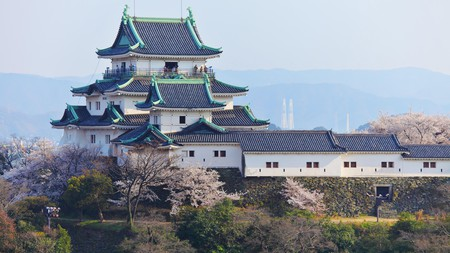 Wakayama Castle is perched atop a mountain overlooking the city