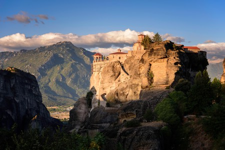 The distinctively shaped rocks of Meteora rise into the sky
