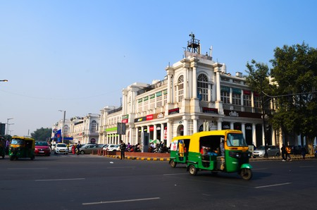 View of moving traffic at Connaught Place, Delhi