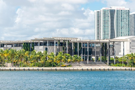 Miami USA September 11, 2019 : view of PAMM Perez Art Museum green exterior decoration, flying garden in Miami
