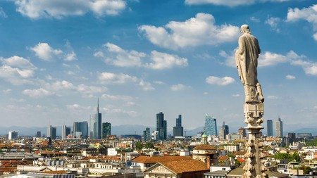 From the rooftop of the Duomo, you can see the modern skyline of the Porto Nuovo, Milan's business district