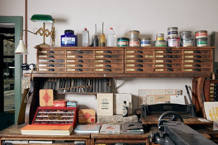 The typography space at the Fratelli Bonvini shop, Milan, Italy