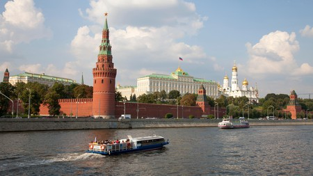 The Kremlin stands on the banks of the Moskva River