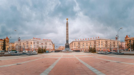The Victory Monument honours the Soviet soldiers who fought in the Great Patriotic War