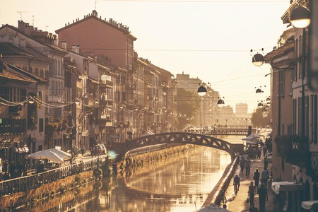 The Navigli at sunset – the canals were built to bring materials into Milan for its famous Duomo