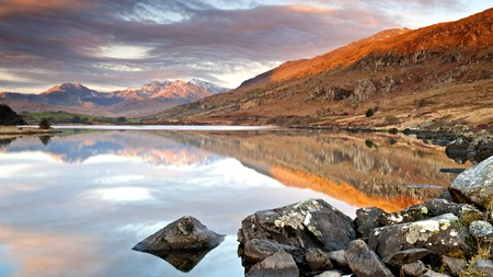 A panoramic view of Snowdonia National Park with its spectacular mountains, lakes and valleys