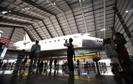 Visitors fill the Samuel Oschin Pavilion to view the space shuttle Endeavour on Monday March 11, 20