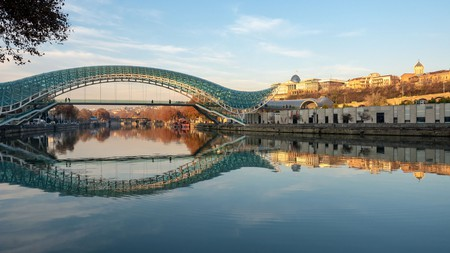 The Bridge of Peace spans the Kura River, and has become an emblem of downtown Tbilisi