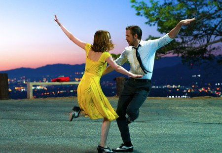 Emma Stone and Ryan Gosling dance at Cathy's Corner in a famous scene from 'La La Land' (2016)
