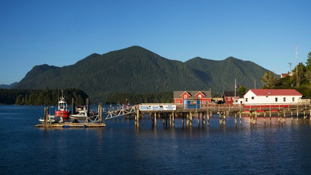 Tofino harbour and marina is situated on Vancouver Island in British Columbia