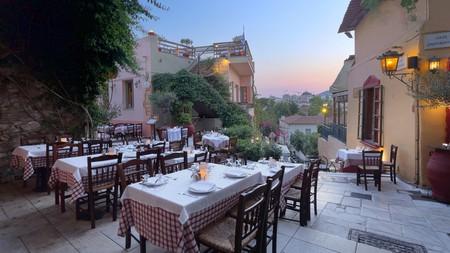 Enjoy dinner al fresco at The Old Taverna of Psaras