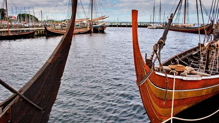 Replicas of Viking longships moored at Viking Ship Museum in Roskilde