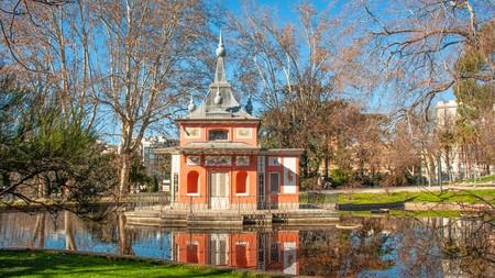 Retiro park in wintertime, Madrid, Spain