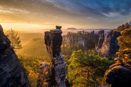 Landscape in the National Park Sächsische Schweiz with rock