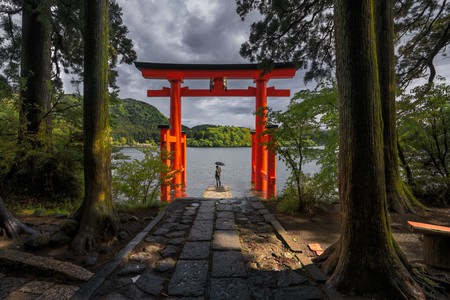 Standing alone under Hakone Torii