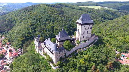 Aerial view of Medieval castle Karlstejn in Czech republic, Drone view