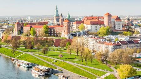Wawel Castle sits on a mound beside the Vistula River