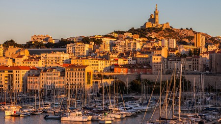 The glorious Basilique Notre-Dame de la Garde looks down over Marseille's iconic harbour