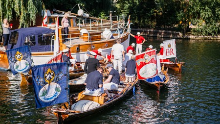 The annual royal swan upping takes place on the Thames every July