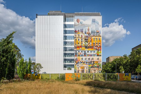 In addition to his surreal watercolours, Tytus Brzozowski has worked to adorn the streets of Warsaw with vibrant murals, like this one in the Wola district