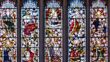 Stained glass window in the University Church of St Mary the Virgin, Oxford, England