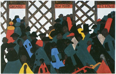 'The Migration of the Negro, Panel no. 1.' Tempera on hardboard, 1940-41, one of a series of paintings by Jacob Lawrence on the migration of black Americans from the south to seek jobs in northern industries during and after World W