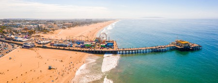 Aerial view of Santa Monica Pier, California - USA.