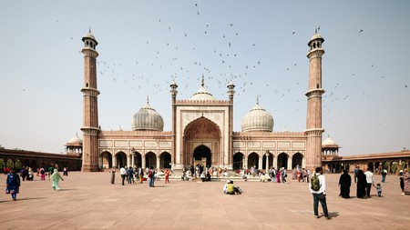 The vast courtyard of the Jama Masjid mosque, Old Delhi