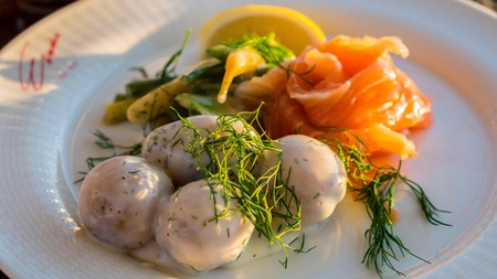 The food at Eriks Gondolen is slightly experimental and very Nordic – as the smoked salmon and potatoes will attest