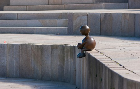 Bronze sculpture by Tom Otterness. Museum Beelden aan Zee, The Hague.