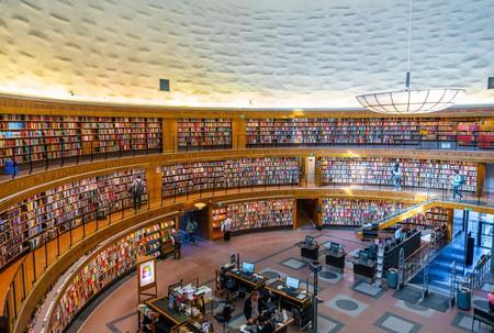 Interior of the rotunda at Stockholm Public Library (Stadsbibliotek) designed by Gunnar Asplund, Stockholm, Sweden, Scandinavia