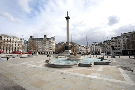 An almost deserted Trafalgar Square, in central London, as tourists and sightseers stay away and locals go into lockdown