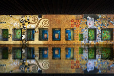 A simulation of the upcoming exhibition of Gustav Klimt at Base Sous-Marine