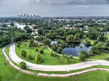 An aerial view of City Park and the New Orleans skyline
