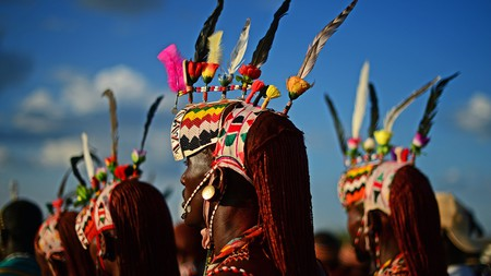 Men from the Rendille tribe take part in the Lake Turkana Festival, an event that brings together the region's tribes in a celebration of their cultural heritage