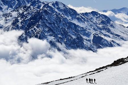 People walk on a slope at the Oukaïmeden ski resort