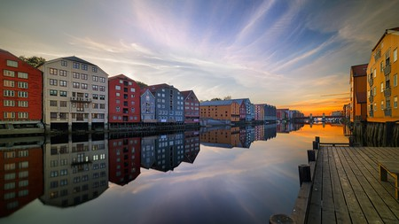 The Nidelva River flows through colourful Trondheim
