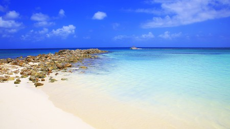 Aruba is surrounded by turquoise Caribbean sea