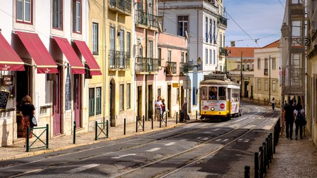 Take in the sights of tramcars on the streets of Lisbon