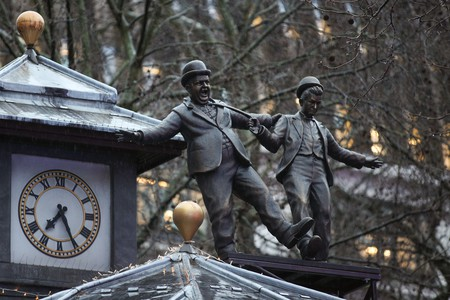 A statue of Laurel and Hardy is unveiled in London's Leicester Square, marking its 350th anniversary and celebrating its rich history as the home of film
