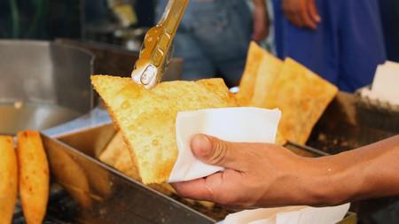 Deep fried pastries in Brazil street market