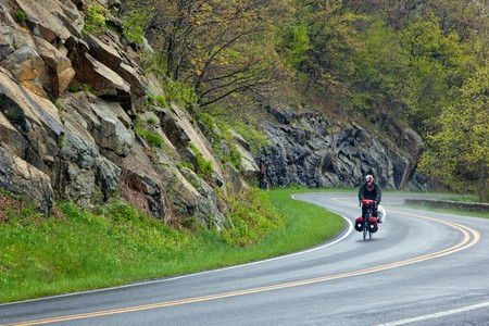 Cycling through stunning scenery on the Skyline Drive in Shenandoah National Park, Virginia