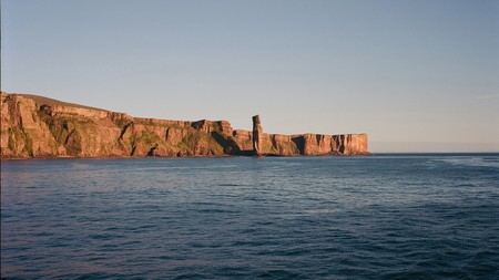 The Old Man of Hoy is part of the Orkney archipelago and can be seen on the ferry from the mainland