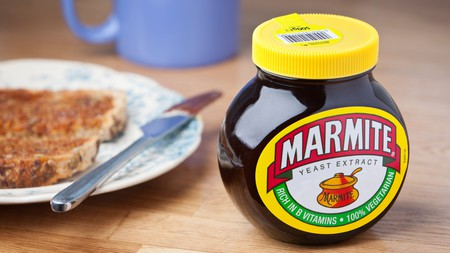 A pot of Marmite, the dark food spread made from yeast extract